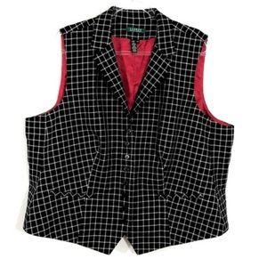 LAUREN Ralph Lauren Checkered Wool Vest FB12☮️